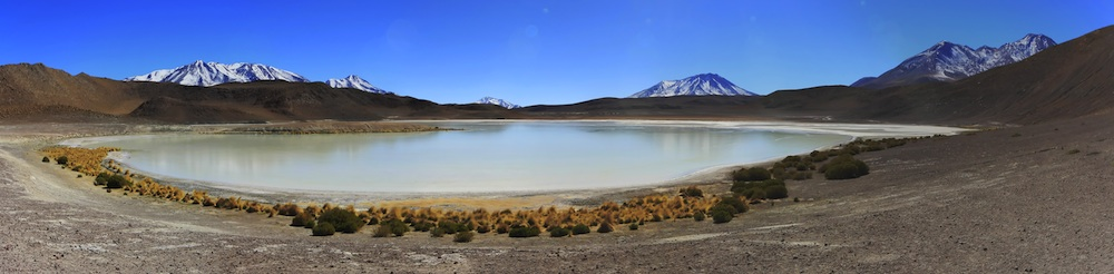 High altitude lake ringed with vegetation